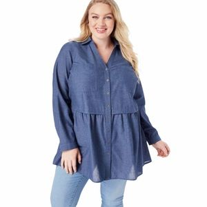 Roaman's plus size chambray peplum button down top